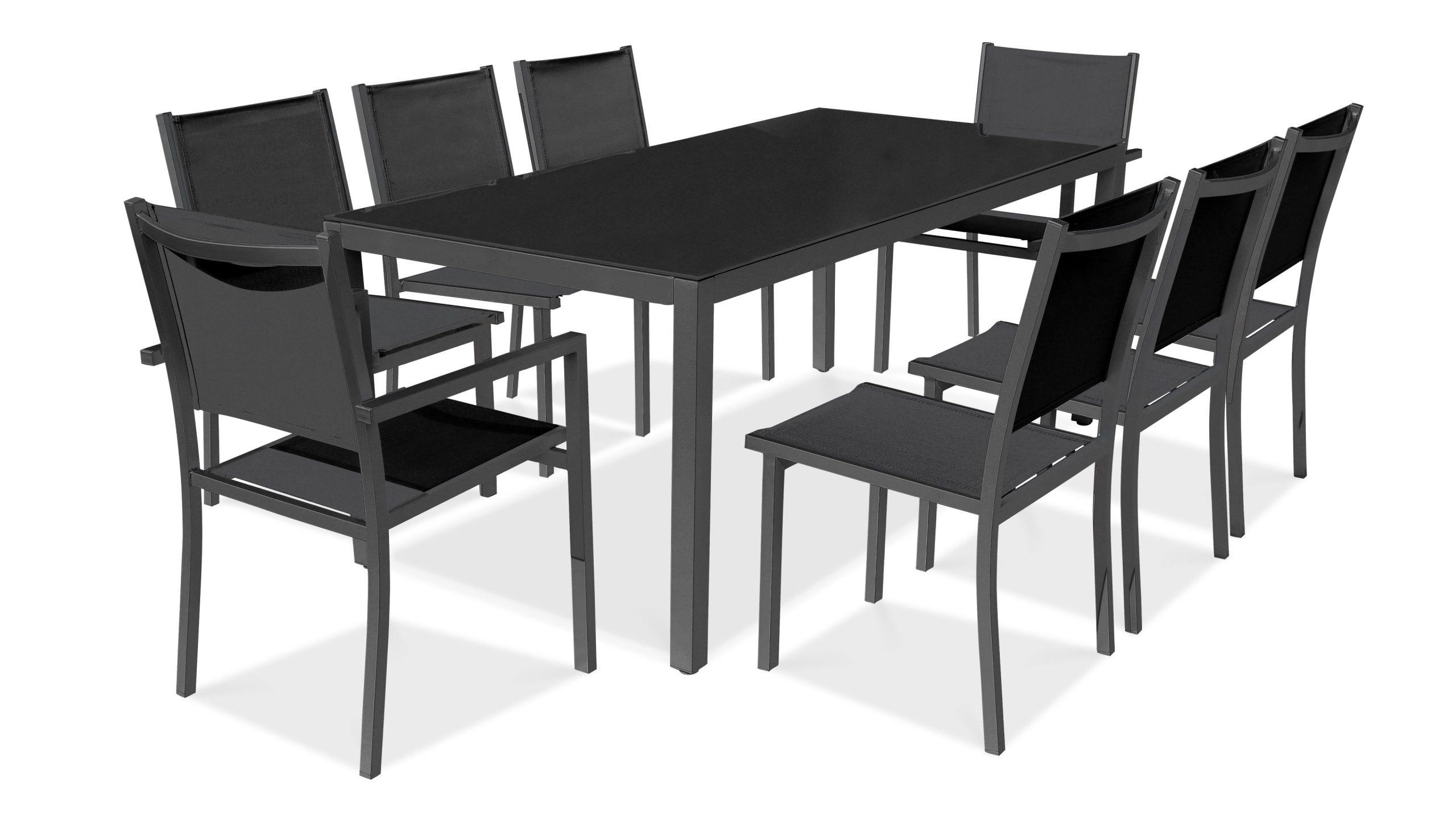 Salon De Jardin Aluminium Table De Jardin 8 Places pour Salon De Jardin Aluminium Et Verre