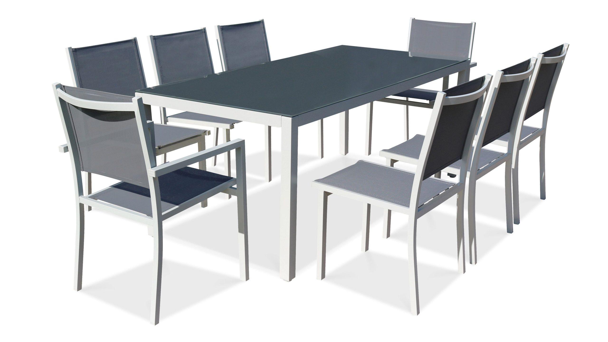 Salon De Jardin Aluminium Table De Jardin 8 Places tout Table De Jardin Dessus Verre