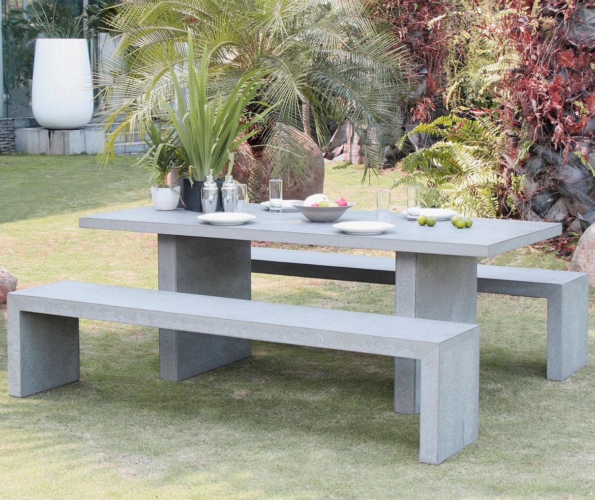 Salon De Jardin Aspect Béton Table 200X90X75Cm + 2 Bancs 200X40X45Cm Hercule destiné Table De Jardin En Ciment
