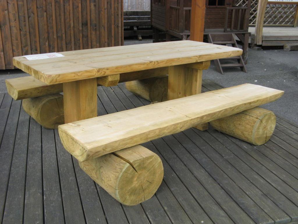 Salon De Jardin, Banc, Table Pique-Nique En Bois - Rustyle à Table De Jardin En Bois Avec Banc Integre