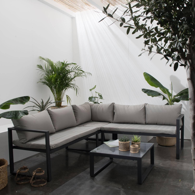 Salon De Jardin Bas Aluminium Anthracite Et Coussins Gris 4 ... à Salon De Jardin Lumineux