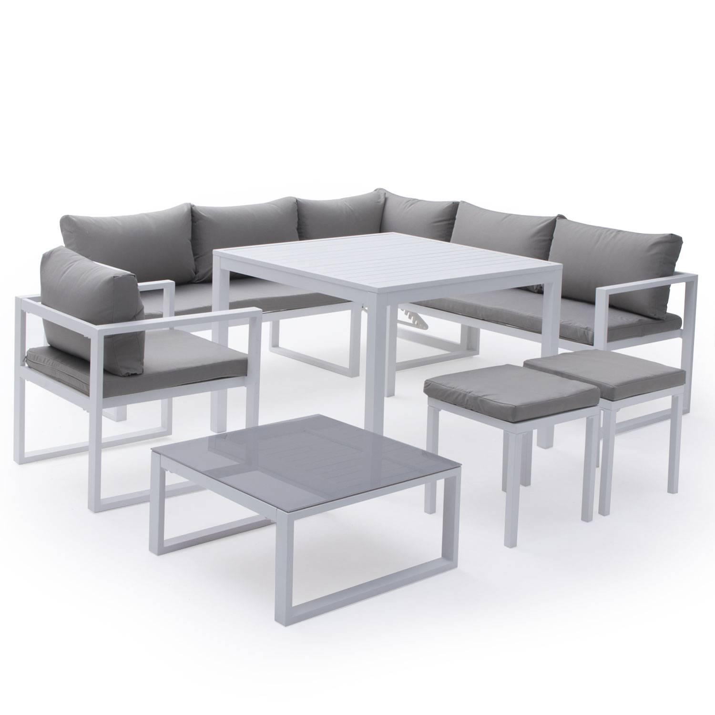 Salon De Jardin Bas Aluminium Blanc Et Coussins Gris 7 Places dedans Salon De Jardin Bas Aluminium