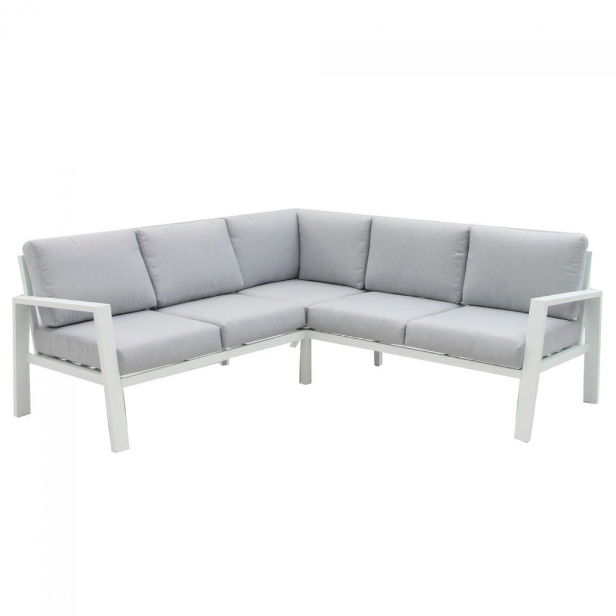 Salon De Jardin Bas Aluminium - Thais - Blanc Et Gris destiné Salon De Jardin Bas Aluminium