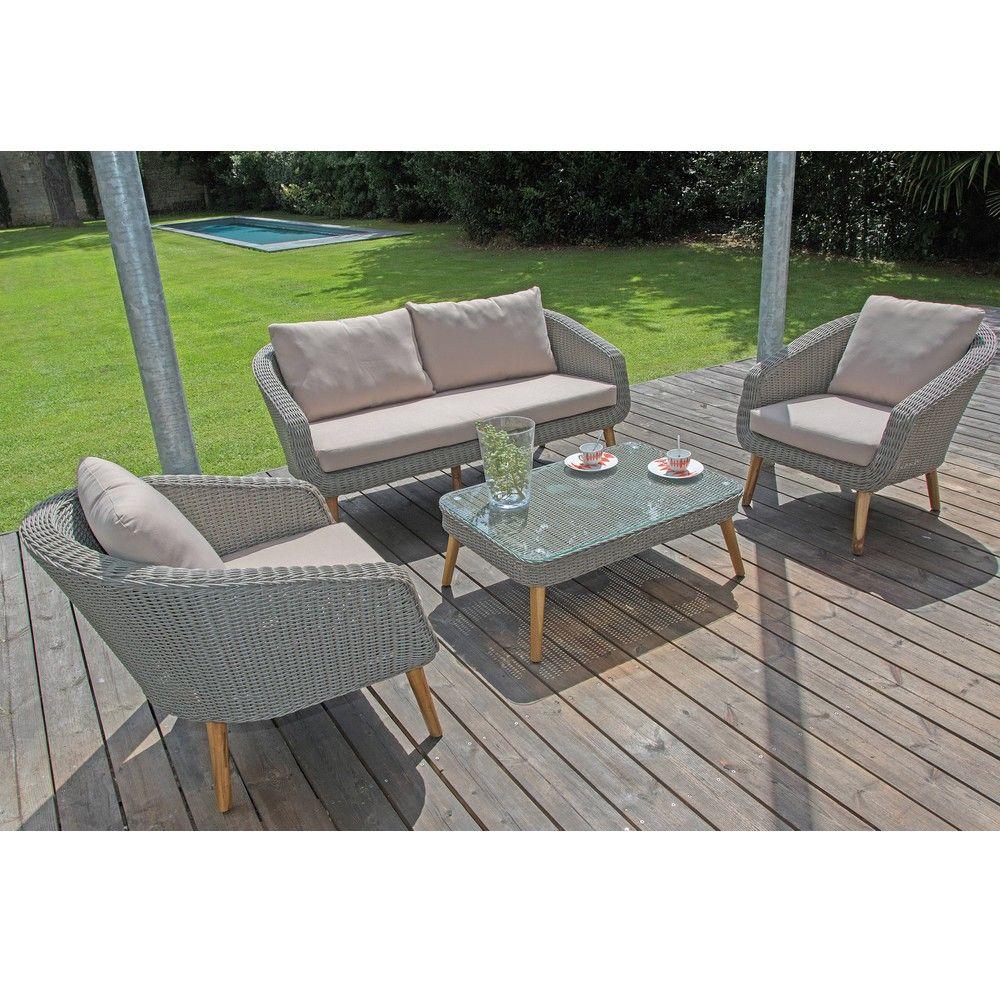 Salon De Jardin Bas Centura Résine Tressée : 2 Fauteuils + 1 Canapé + 1  Table destiné Salon De Jardin En Resine Tresse