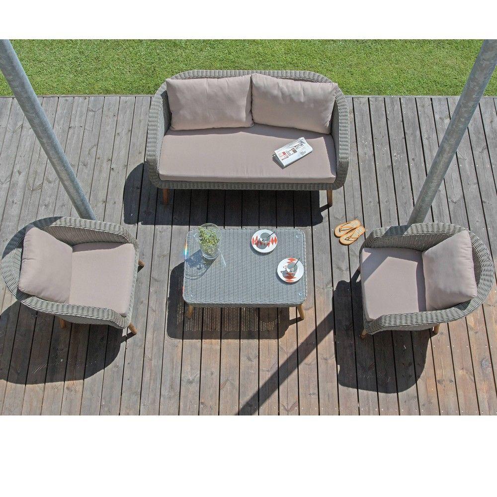 Salon De Jardin Bas Centura Résine Tressée : 2 Fauteuils + 1 Canapé + 1  Table encequiconcerne Table De Jardin En Resine Tressée