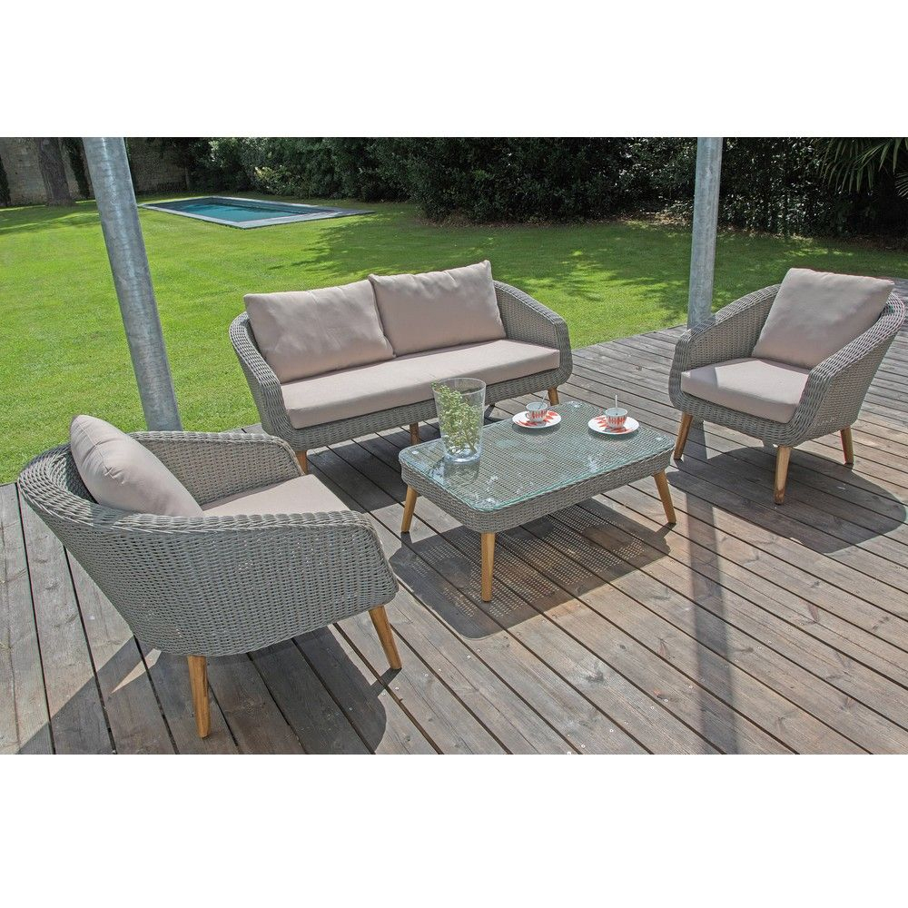 Salon De Jardin Bas Centura Résine Tressée : 2 Fauteuils + 1 Canapé + 1  Table tout Salon De Jardin Resine Tresse