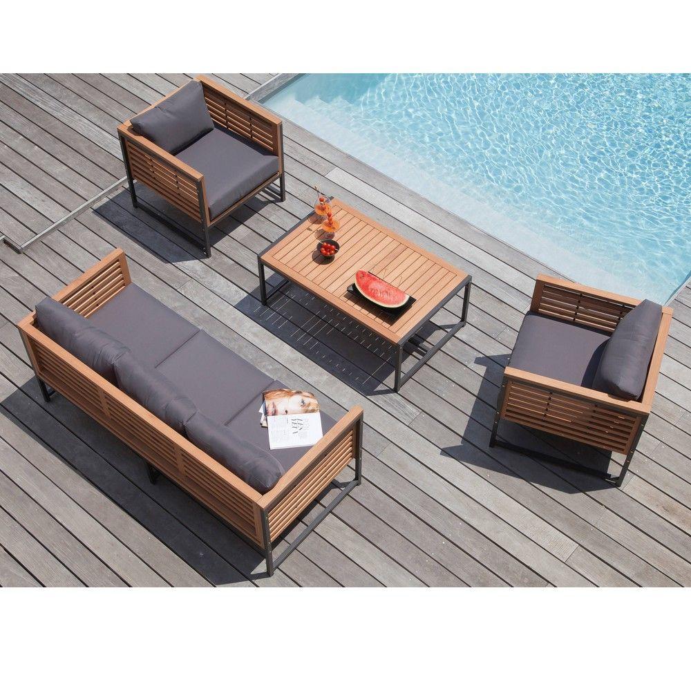 Salon De Jardin Bas Végas Aluminium/bois : 1 Canapé + 2 Fauteuils + 1 Table destiné Salon De Jardin Bas Aluminium