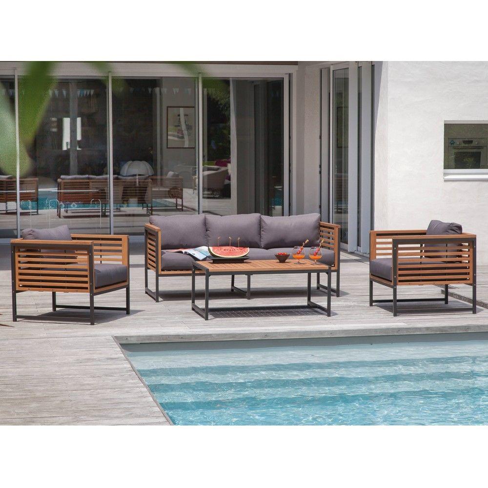 Salon De Jardin Bas Végas Aluminium/bois : 1 Canapé + 2 Fauteuils + 1 Table intérieur Salon De Jardin Bas Aluminium