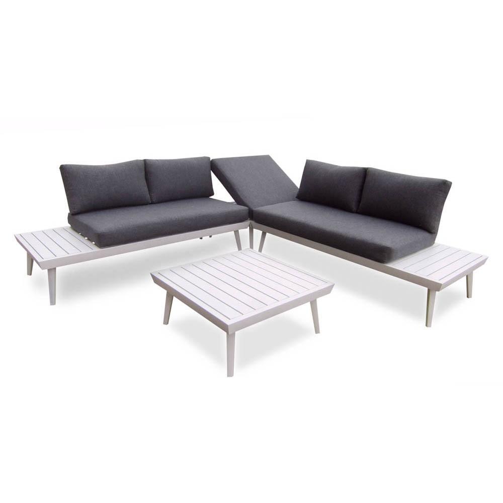 Salon De Jardin Bilbao Aluminium Blanc Et Gris 5 Personnes concernant Canapé De Jardin Aluminium