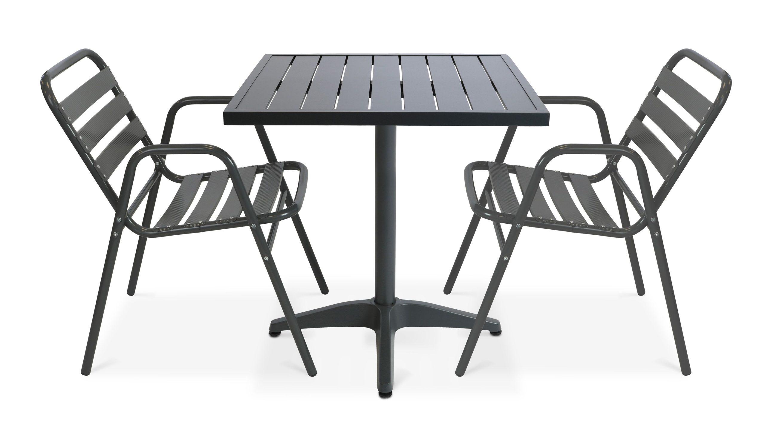 Salon De Jardin Bistrot Gris + 2 Chaises En Aluminium   Chelsea concernant Chaise Bistrot Aluminium Jardin