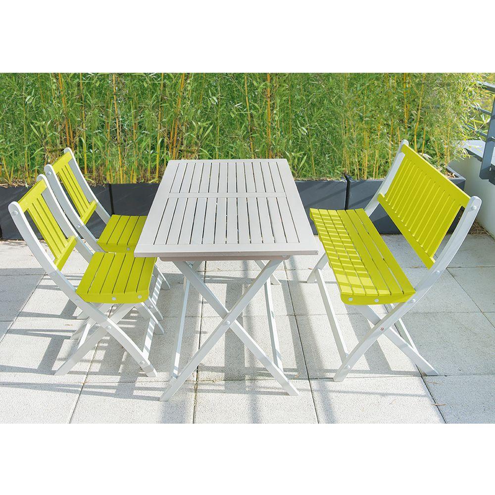 Salon De Jardin Burano City Green : Table + 2 Chaises + 1 Banc à Salon De Jardin Vert Anis