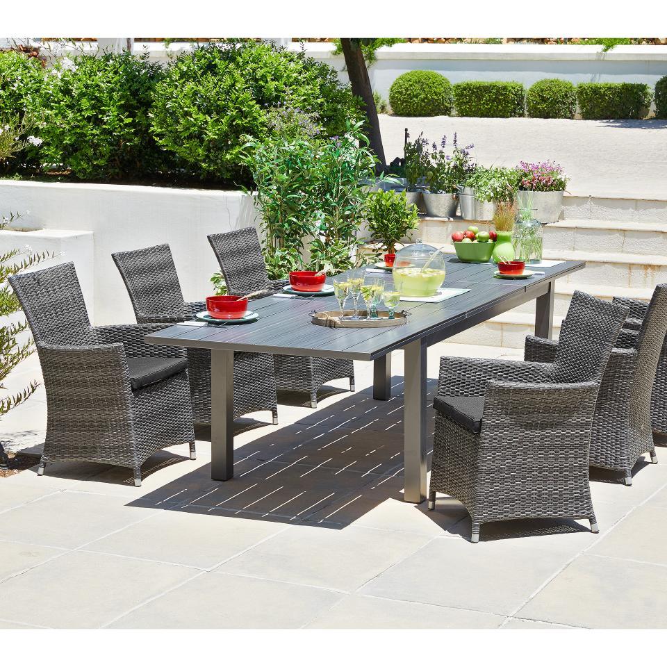 Salon De Jardin «California/kansas» (1 Table, 8 Chaises, Extensible) pour Salon De Jardin California