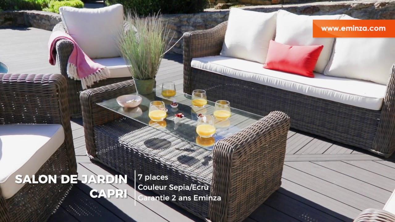 Salon De Jardin Capri Sepia/ecru - 7 Places concernant Table Ronde Jardin Ikea