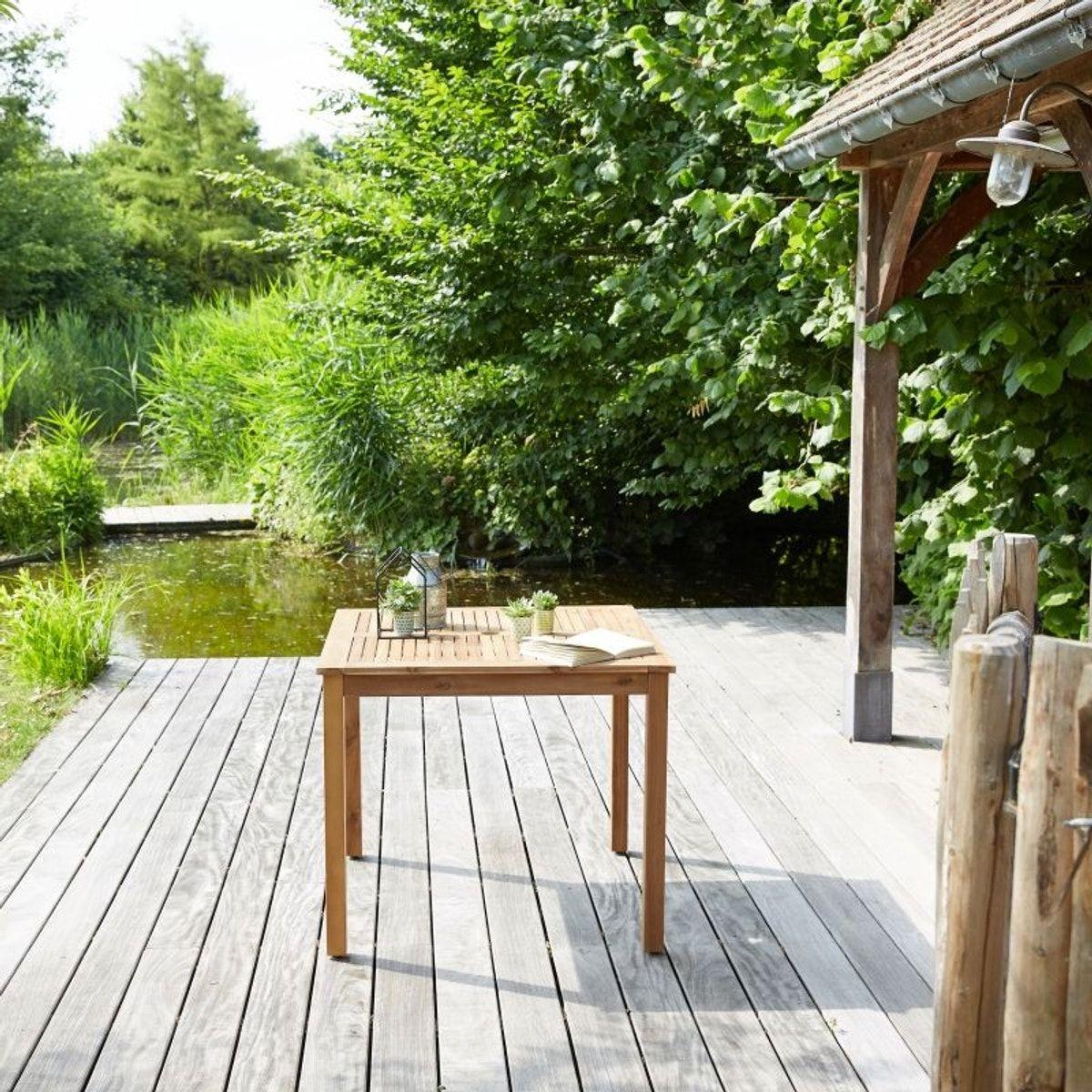 Salon De Jardin Carré En Bois D'acacia Fsc Noir 2 Places ... tout Salon De Jardin Carre