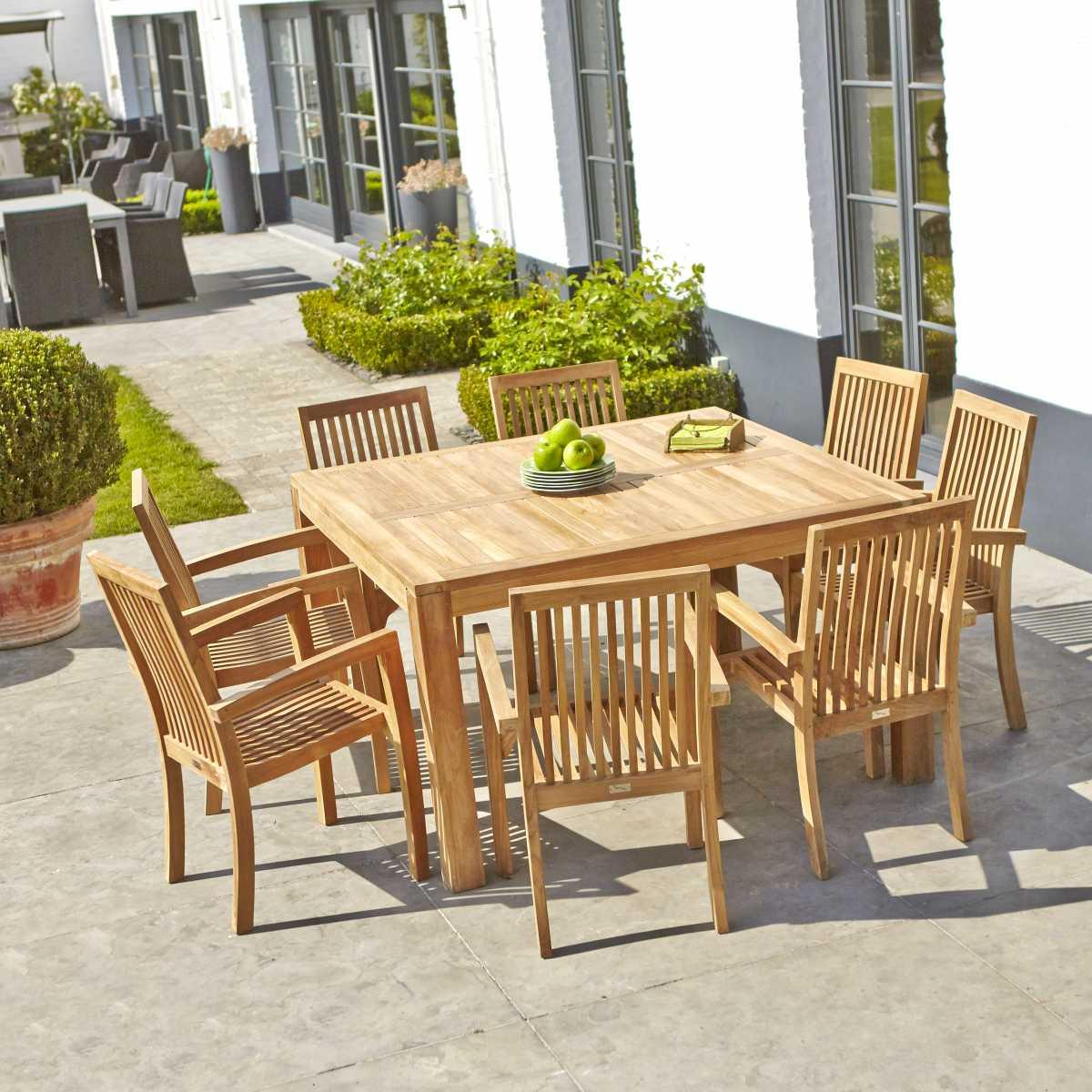 Salon De Jardin Carré En Teck 8 Places Midland | Bois Dessus ... encequiconcerne Table De Jardin Carre