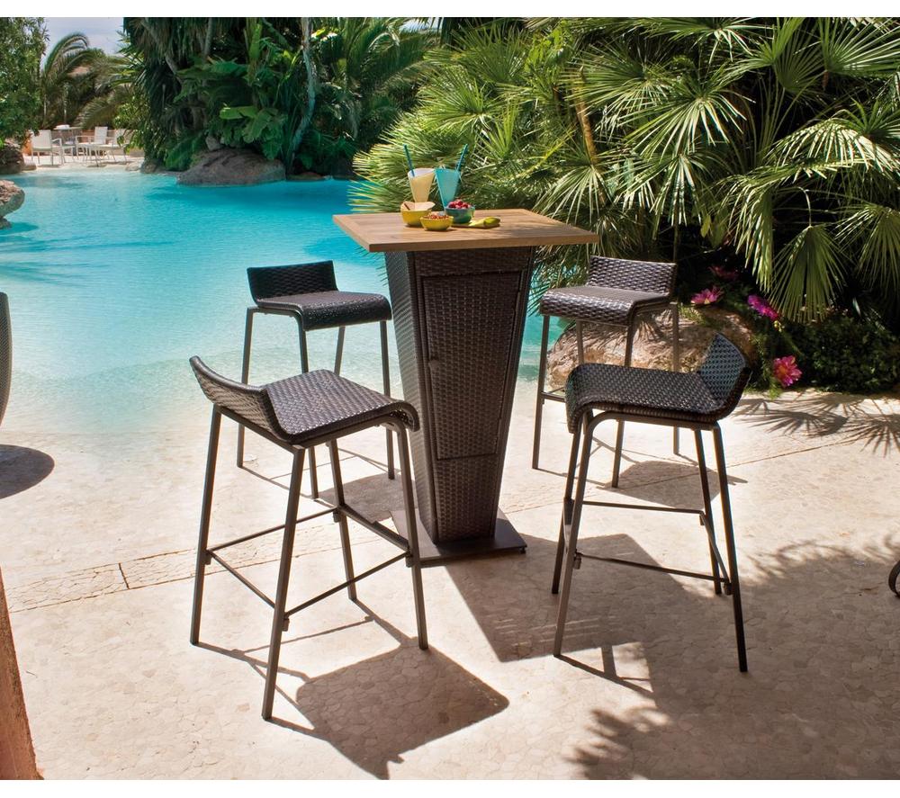 Salon De Jardin Carrefour - Set Bar Table + 4 Chaises Prix ... à Salon Jardin Resine Carrefour