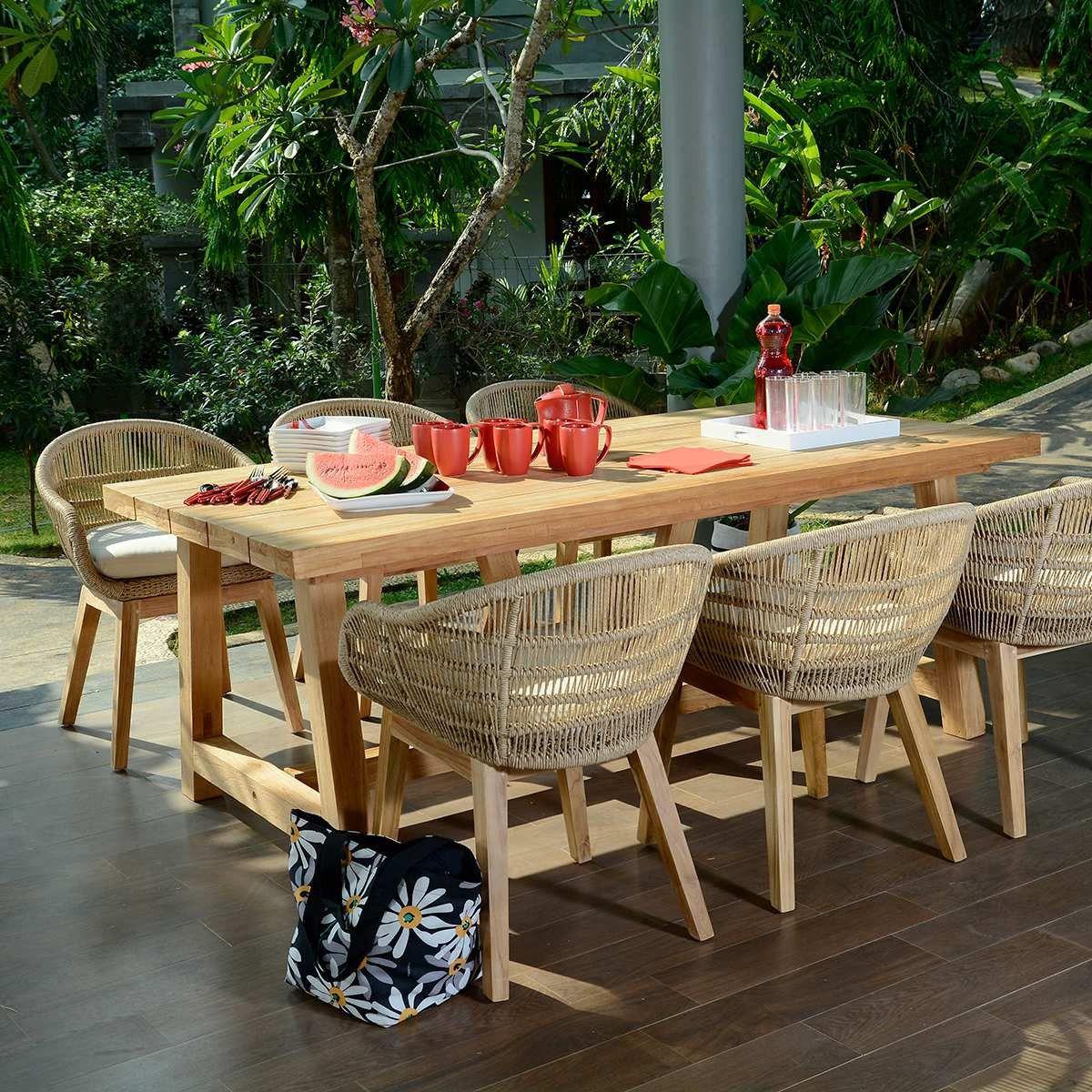 Salon De Jardin Chaumont 250 En Teck Effet Recyclé Pas Cher ... destiné Salon De Jardin En Soldes