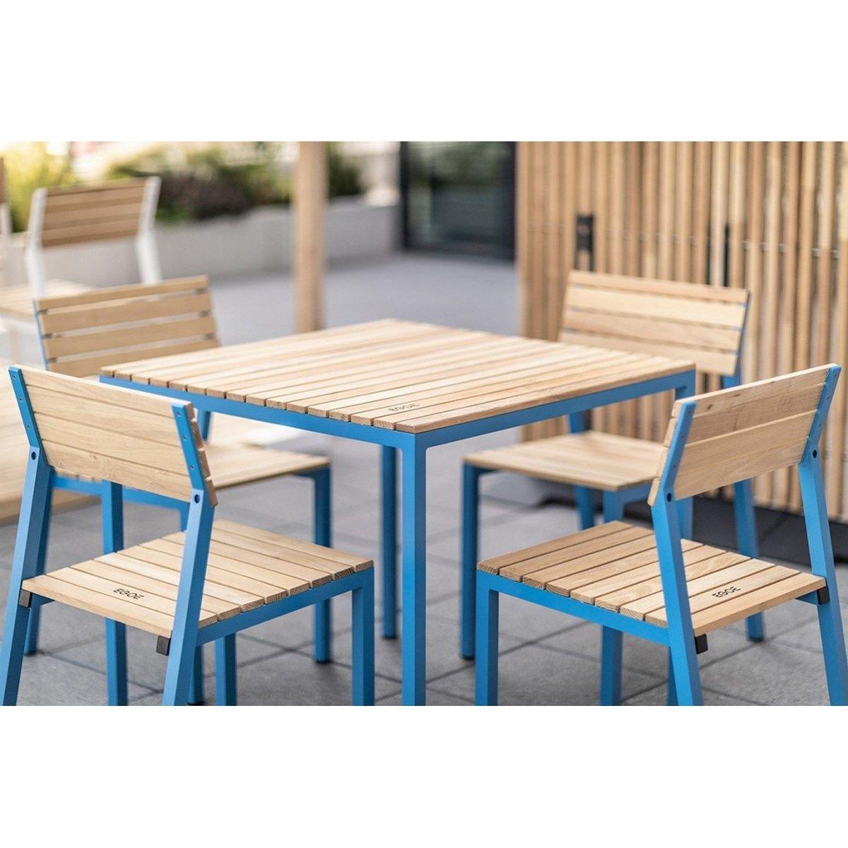 Salon De Jardin Cora Table Carrée Et 4 Chaises Alu Et Acacia ... encequiconcerne Cora Table De Jardin