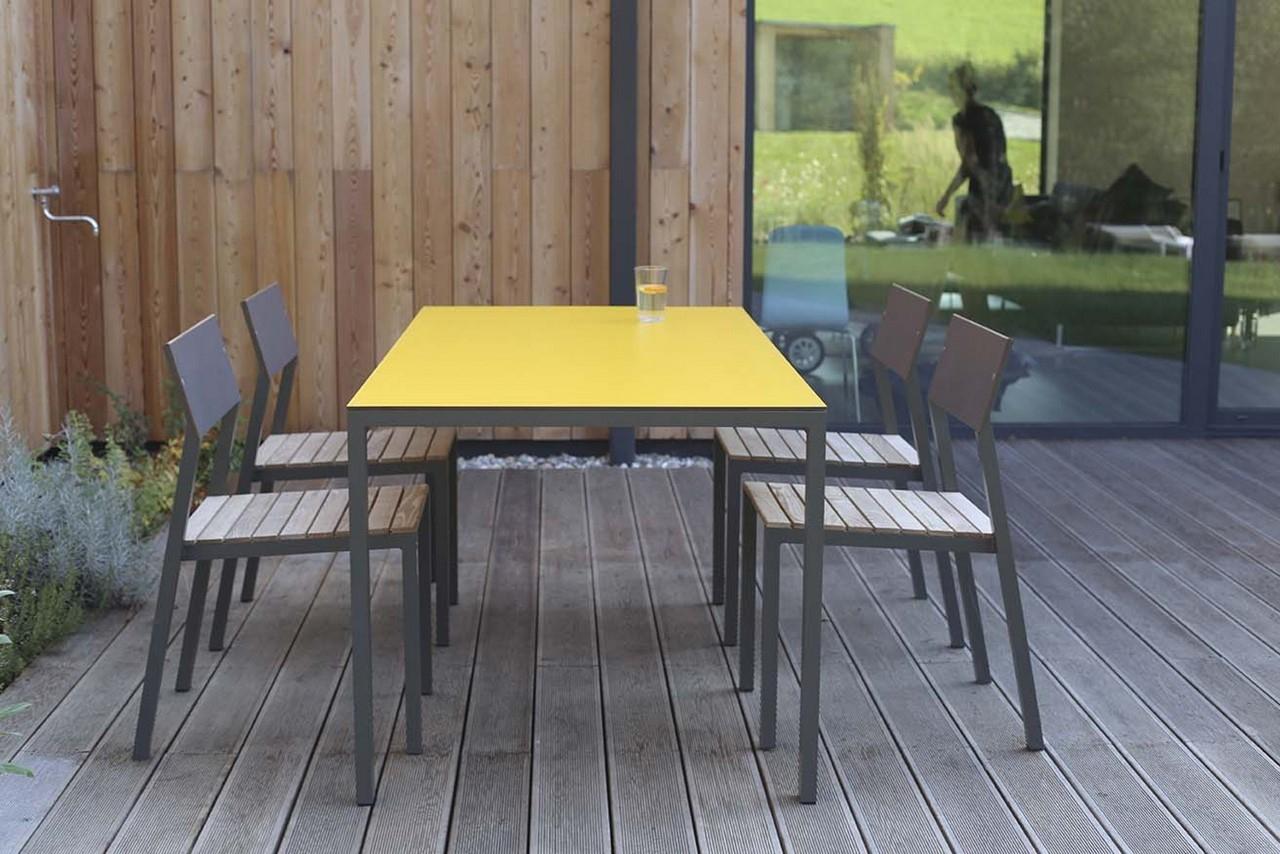 Salon De Jardin Cora, Table Rectangle 175 Cm Et 4 Chaises ... intérieur Salon De Jardin En Metal De Couleur