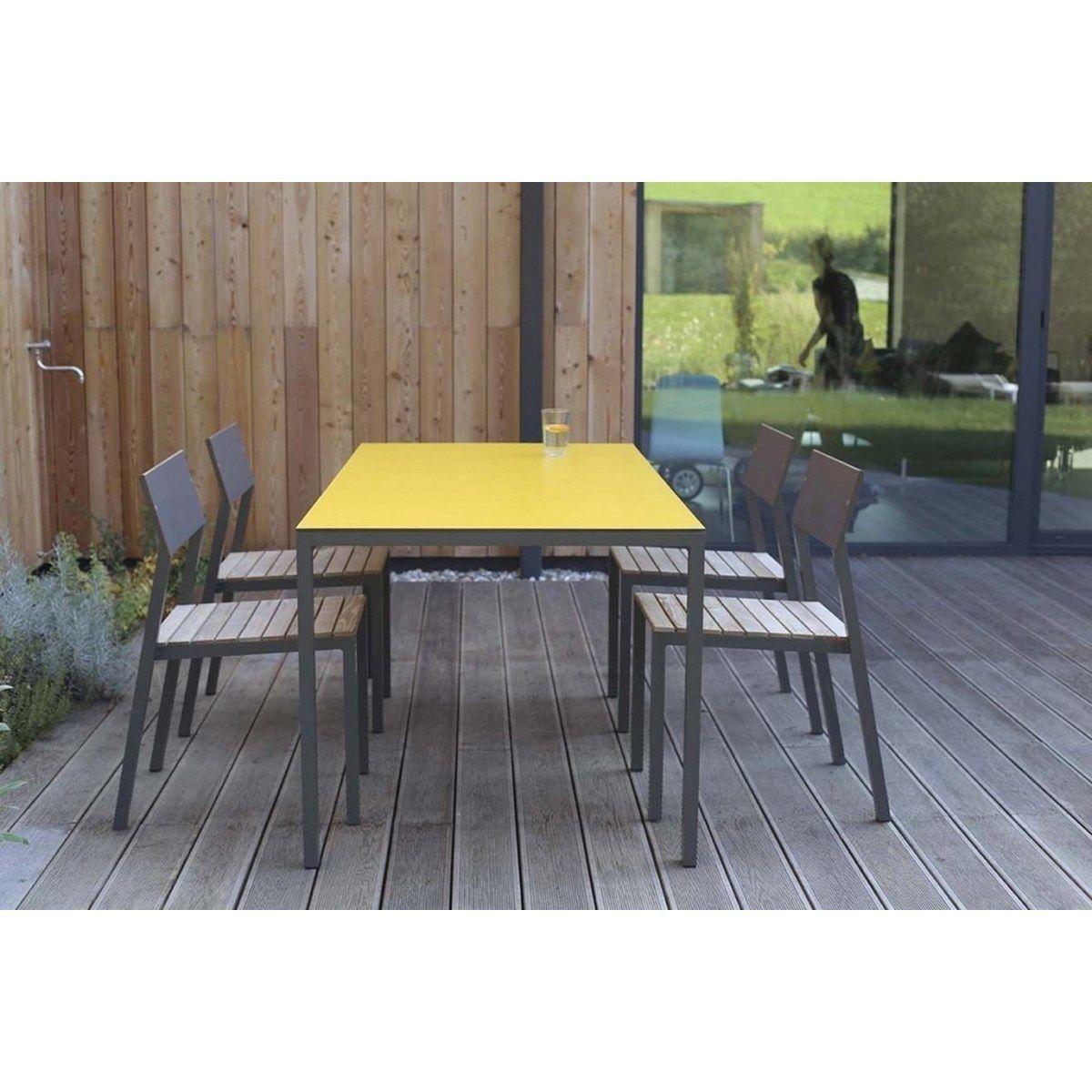 Salon De Jardin Cora Table Rectangle Plateau Hpl Jaune Et 4 ... avec Cora Table De Jardin