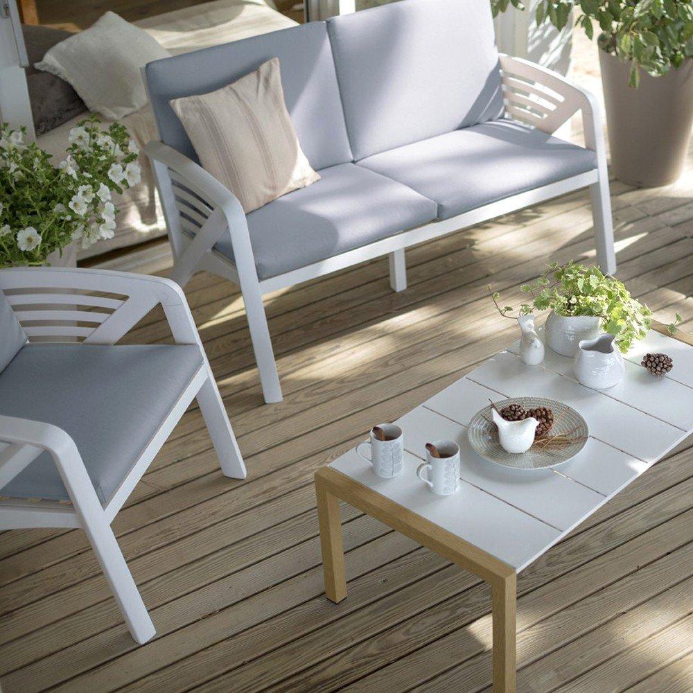 Salon De Jardin Corfou Grosfillex 4 Personnes Blanc Au ... tout Table Jardin 4 Personnes