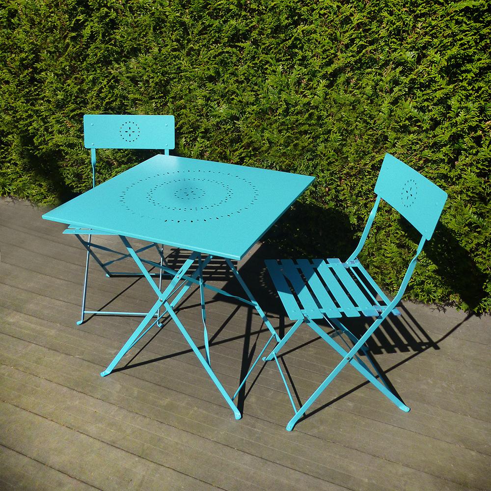 Salon De Jardin Crepuscule 1 Table Carrée Et Deux Chaises En Acier Coloris  Bleu avec Table De Jardin Carre