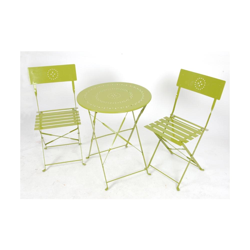 Salon De Jardin Crépuscule Pliant 2 Personnes Coloris Vert Anis destiné Table Jardin 4 Personnes