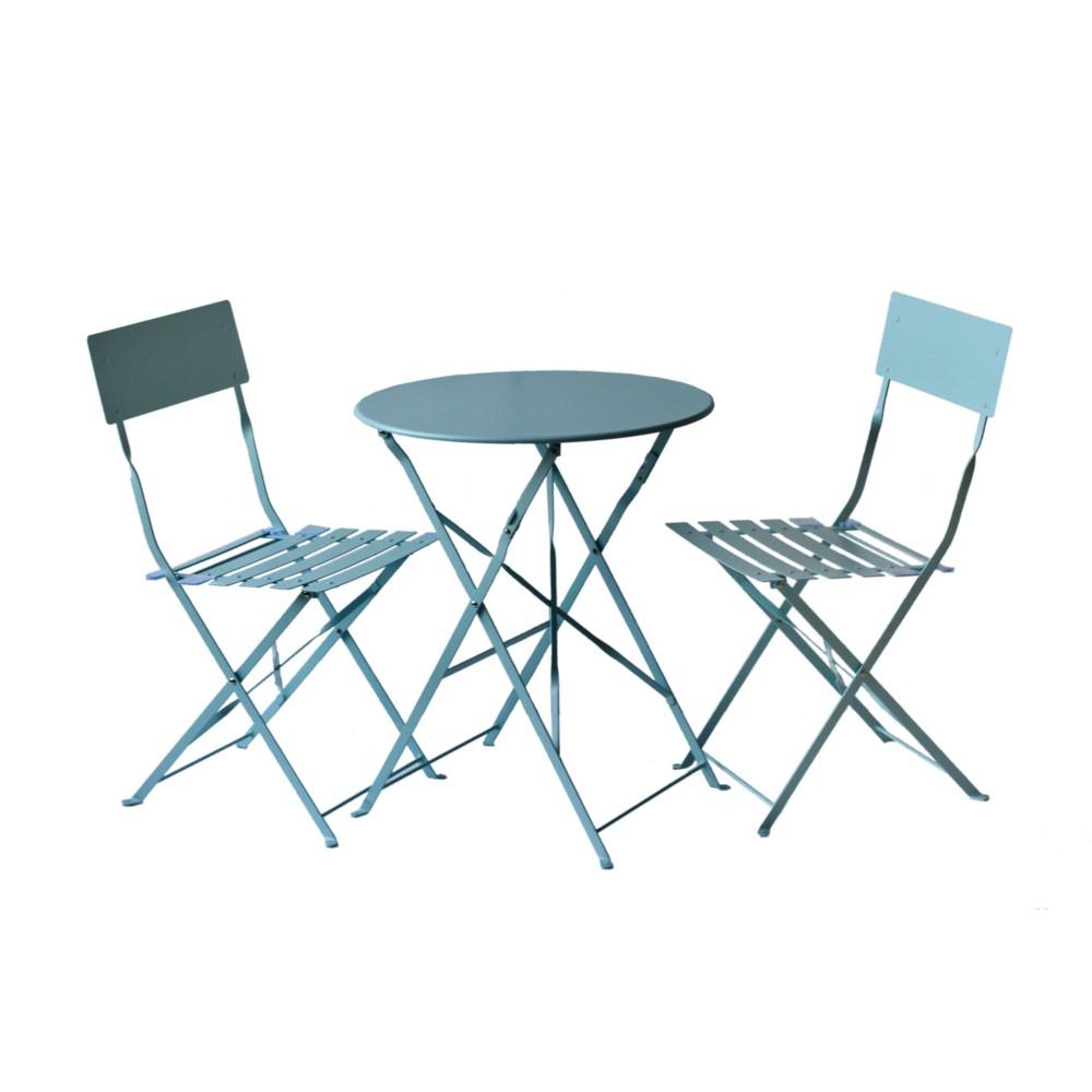 Salon De Jardin Crepuscule Punching Round 1 Table Ronde Et 2 Chaises En  Acier Coloris Bleu à Chaise De Jardin Bleu