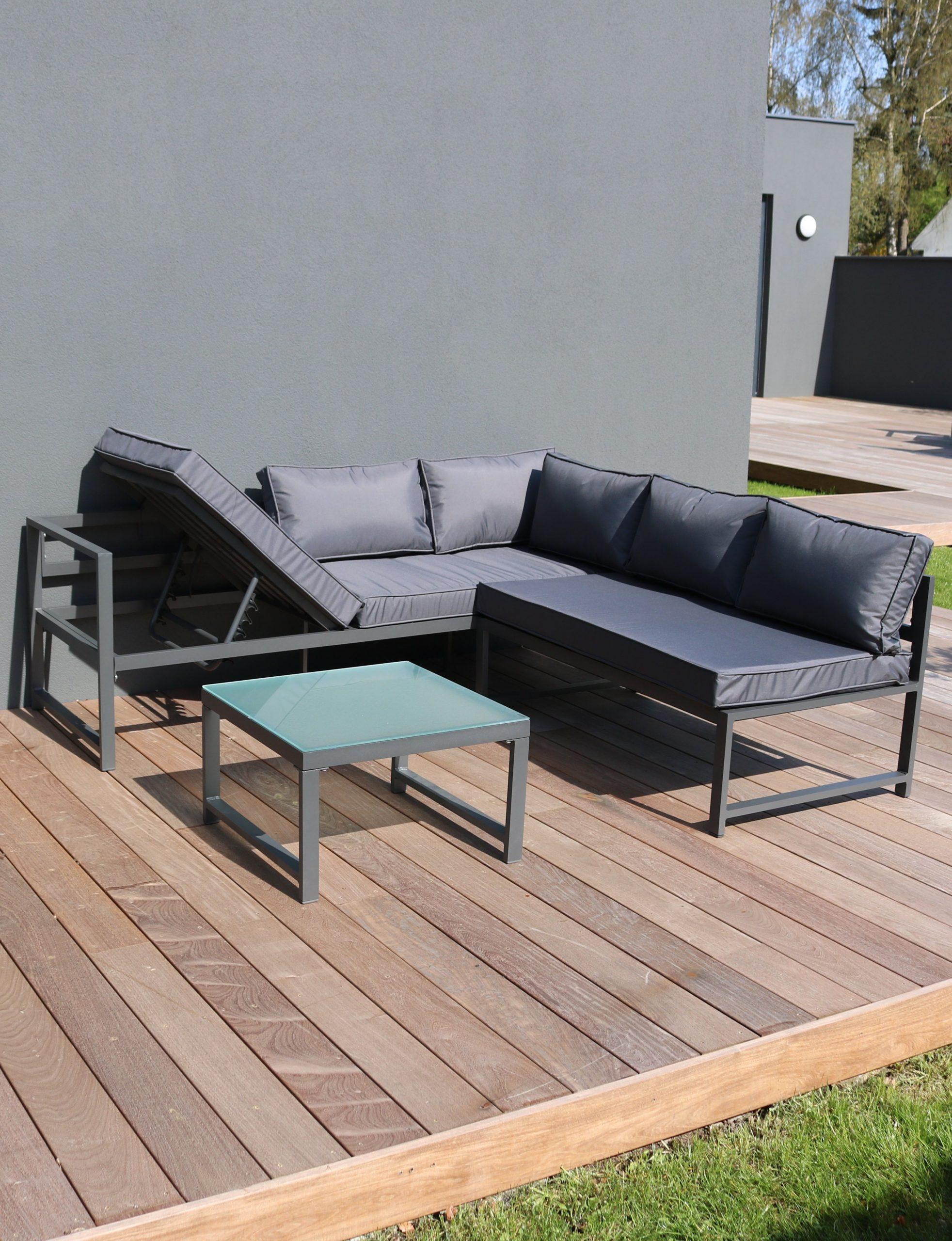 Salon De Jardin D'angle 5 Places En Aluminium - Gris ... avec Canapé De Jardin Aluminium