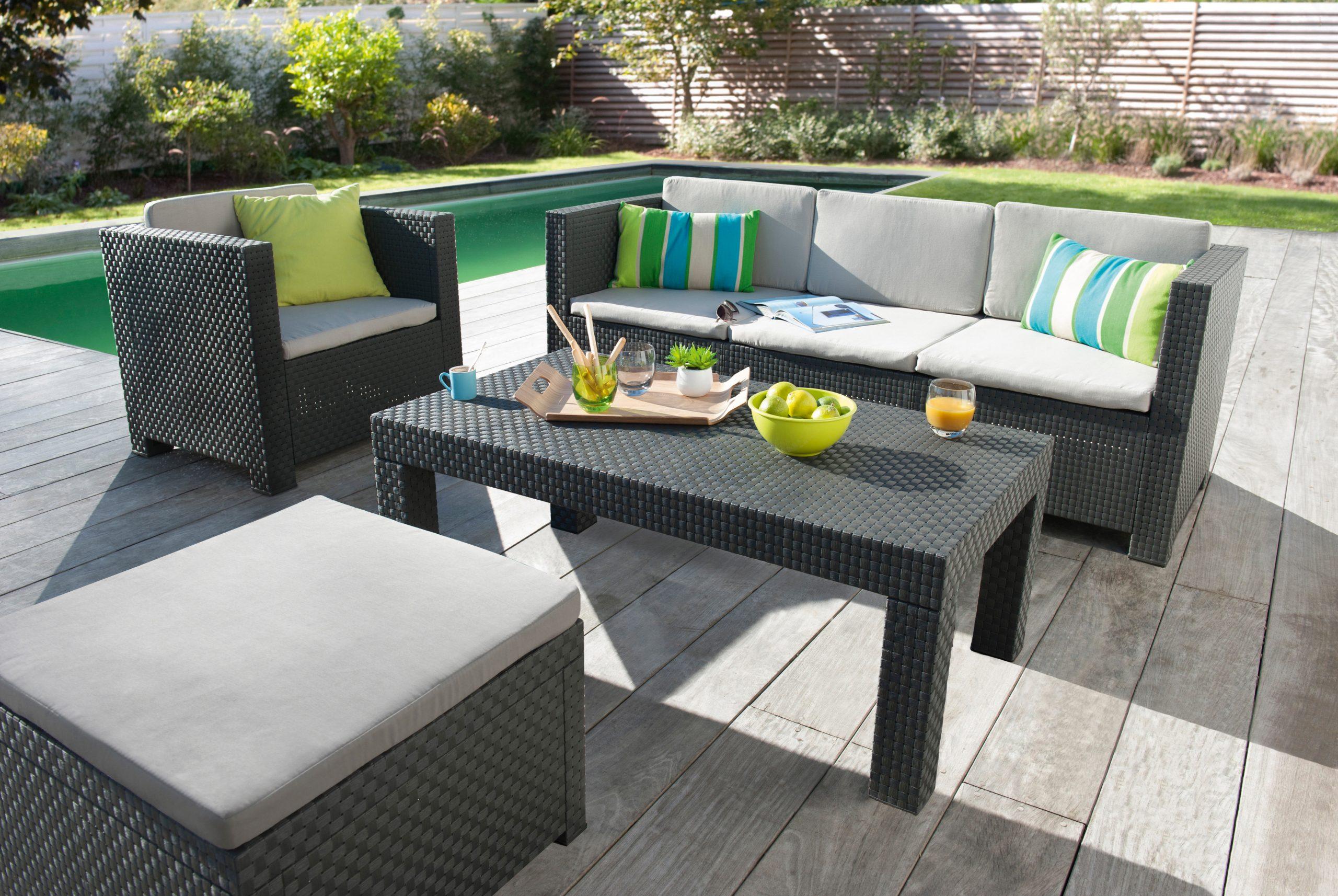 Salon De Jardin Design - Idées Salon De Jardin Confortable ... avec Canapé De Jardin Pas Cher