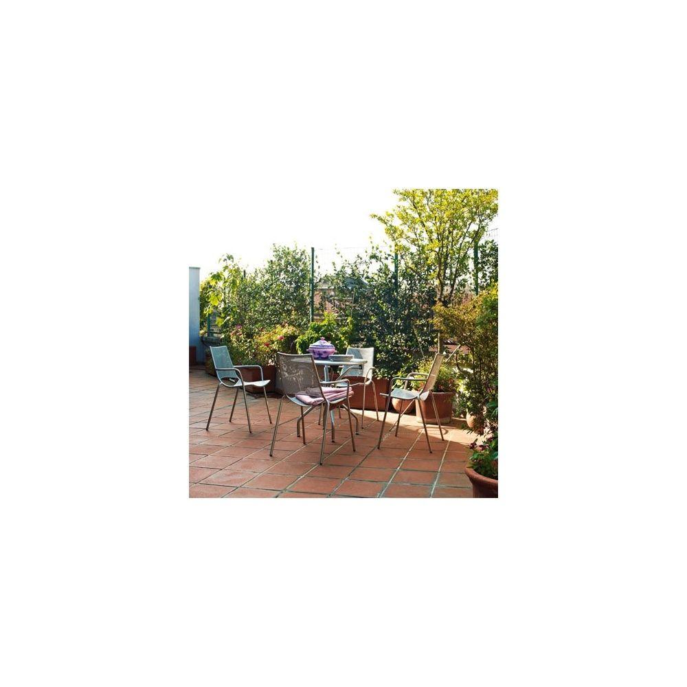 Salon De Jardin Emu : Table Cambi Ø120 Cm + 4 Fauteuils Empilables à Gamm Vert Salon De Jardin