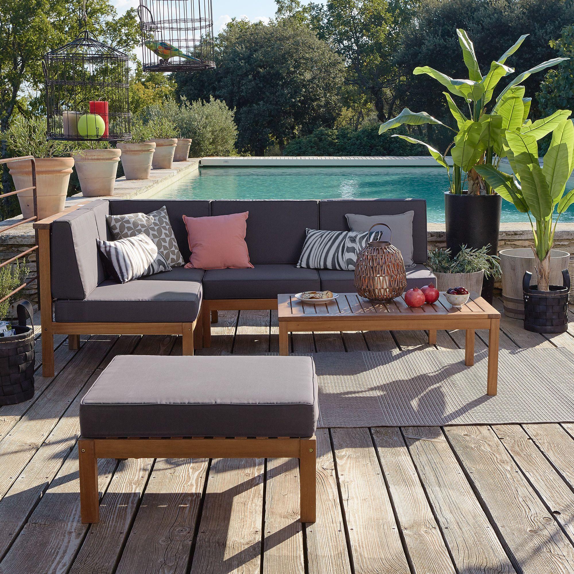 Salon De Jardin En Acacia 5 Éléments - Cocoon Garden - Les ... intérieur Salon De Jardin Cocoon