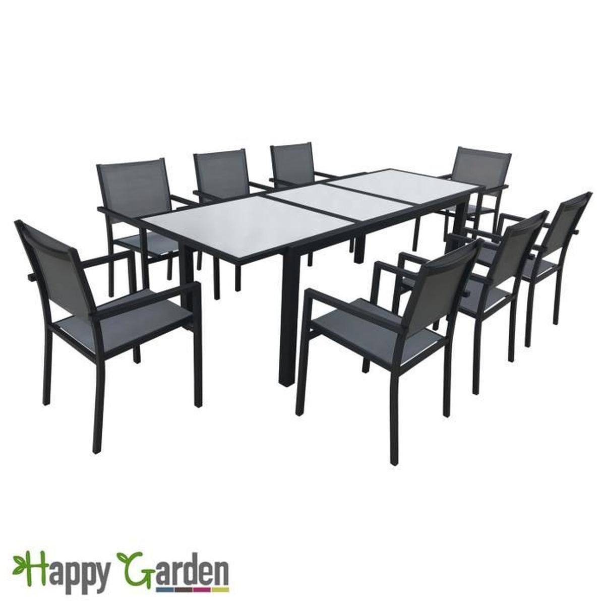 Salon De Jardin En Aluminium 8 Places pour Table De Jardin Cdiscount