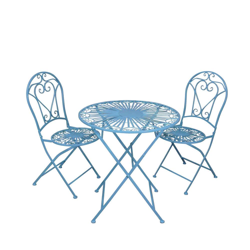 Salon De Jardin En Fer Forgé Bleu Avec Deux Chaises intérieur Chaise De Jardin Bleu