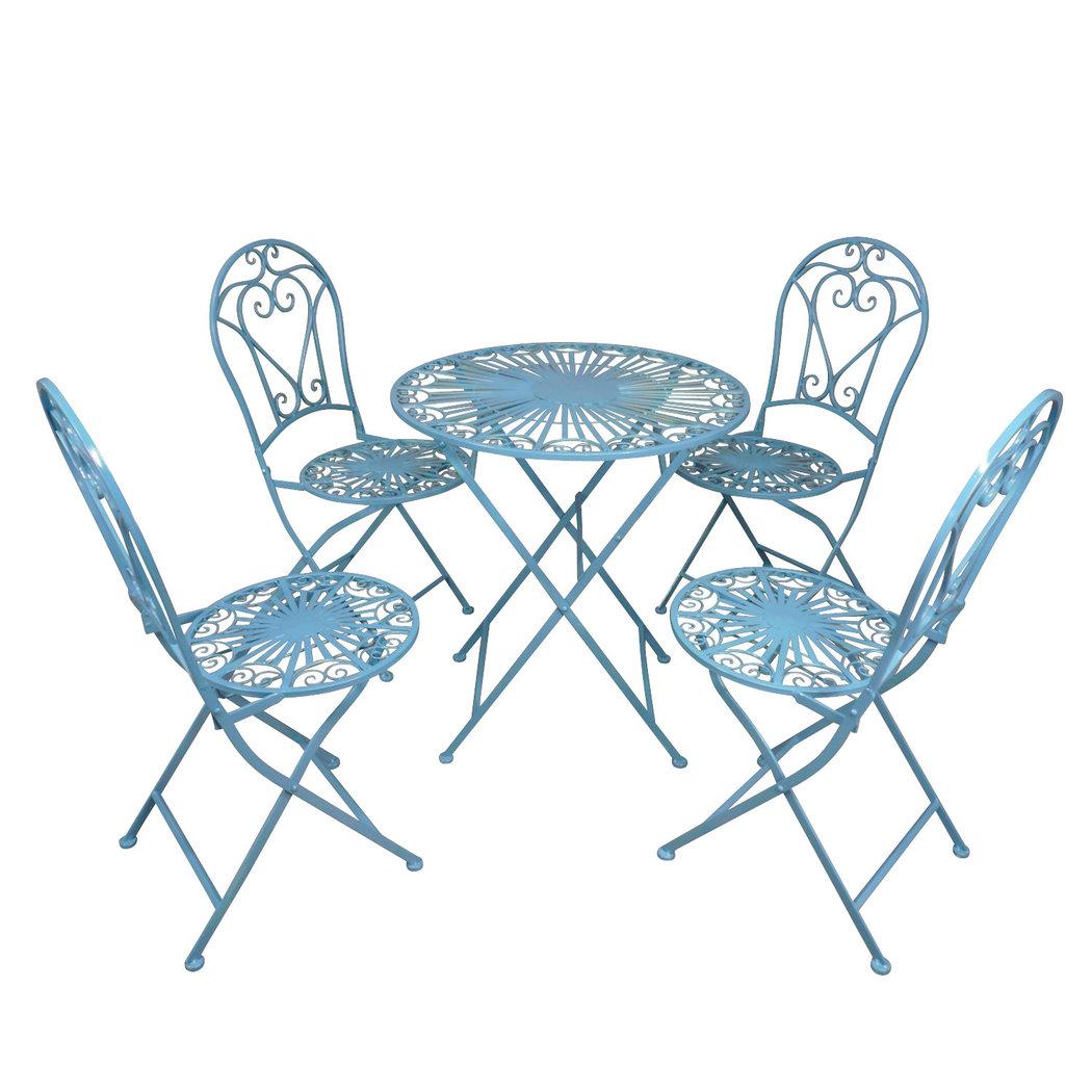 Salon De Jardin En Fer Forgé Bleu destiné Salon De Jardin En Fer Forgé