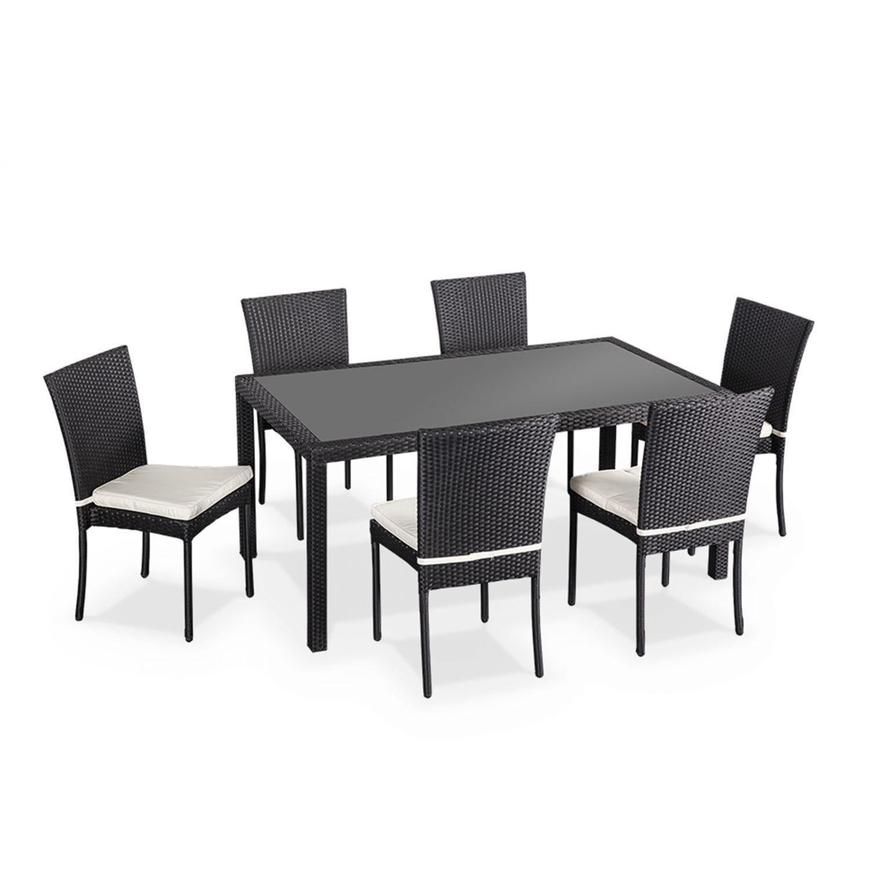 Salon De Jardin En Résine Tressée 6 Chaises, Noir, Table D ... dedans Table Et Chaise De Jardin En Resine Tressee