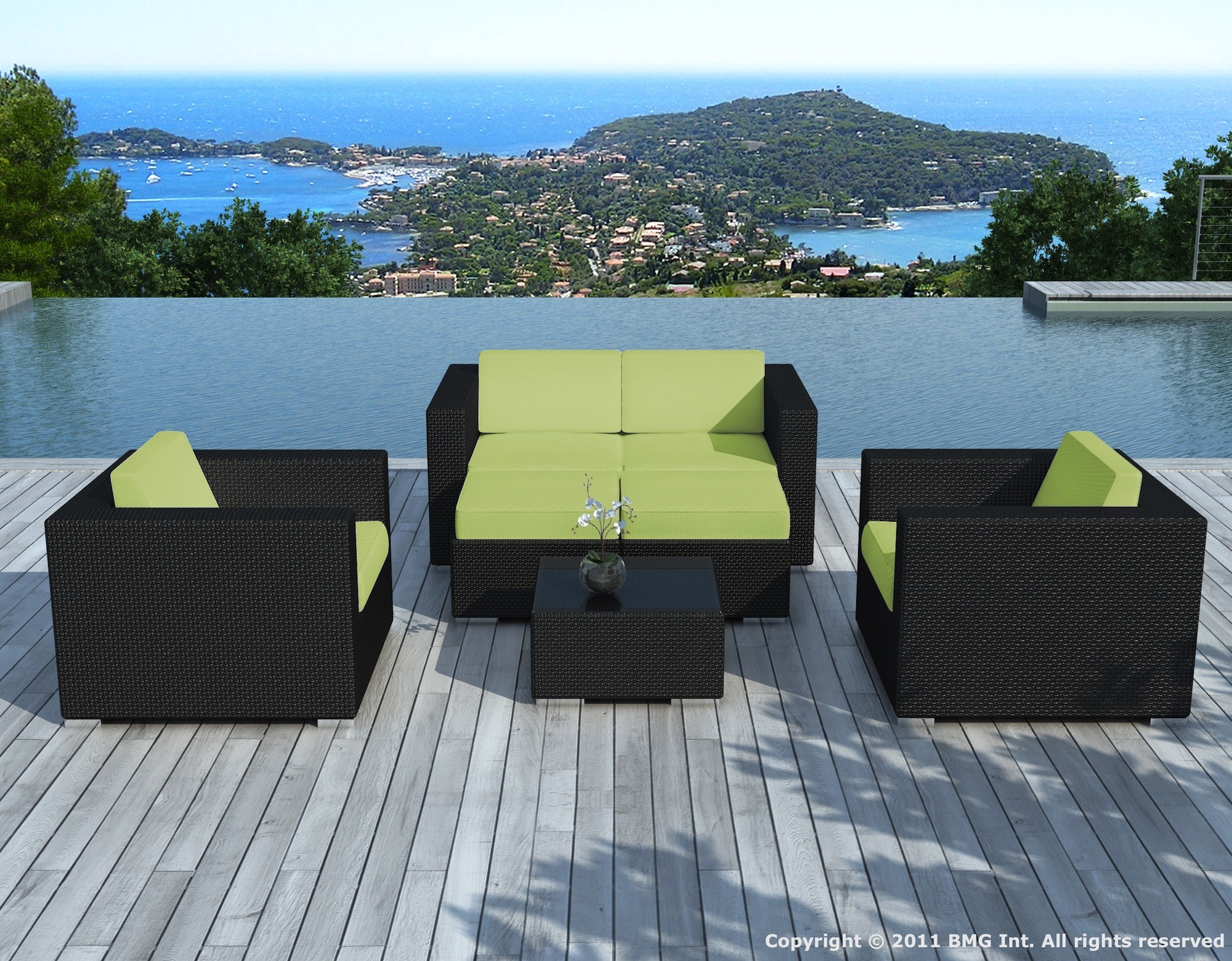 Salon De Jardin En Résine Tressée Noire/vert - Pausa - Delorm Design avec Salon De Jardin Vert Anis
