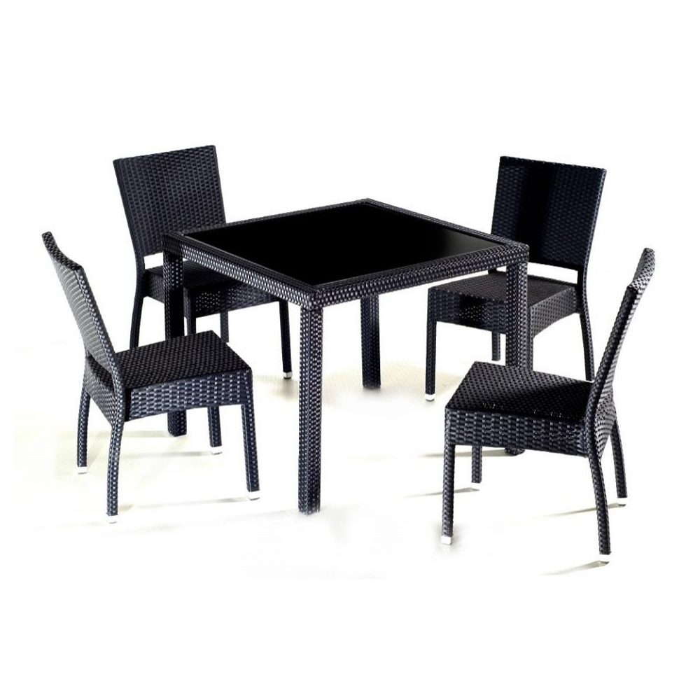 Salon De Jardin En Résine Tressée - Table + 4 Chaises intérieur Table Et Chaise De Jardin En Resine Tressee