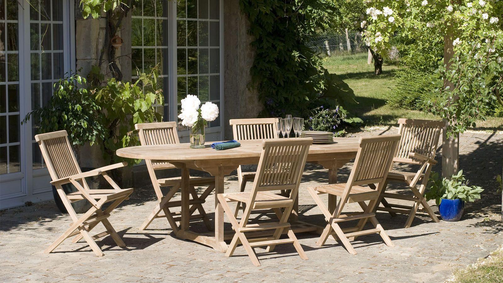 Salon De Jardin En Teck 6 Places - Collection Copa Cabana ... tout Table Et Chaise De Jardin En Teck Pas Cher