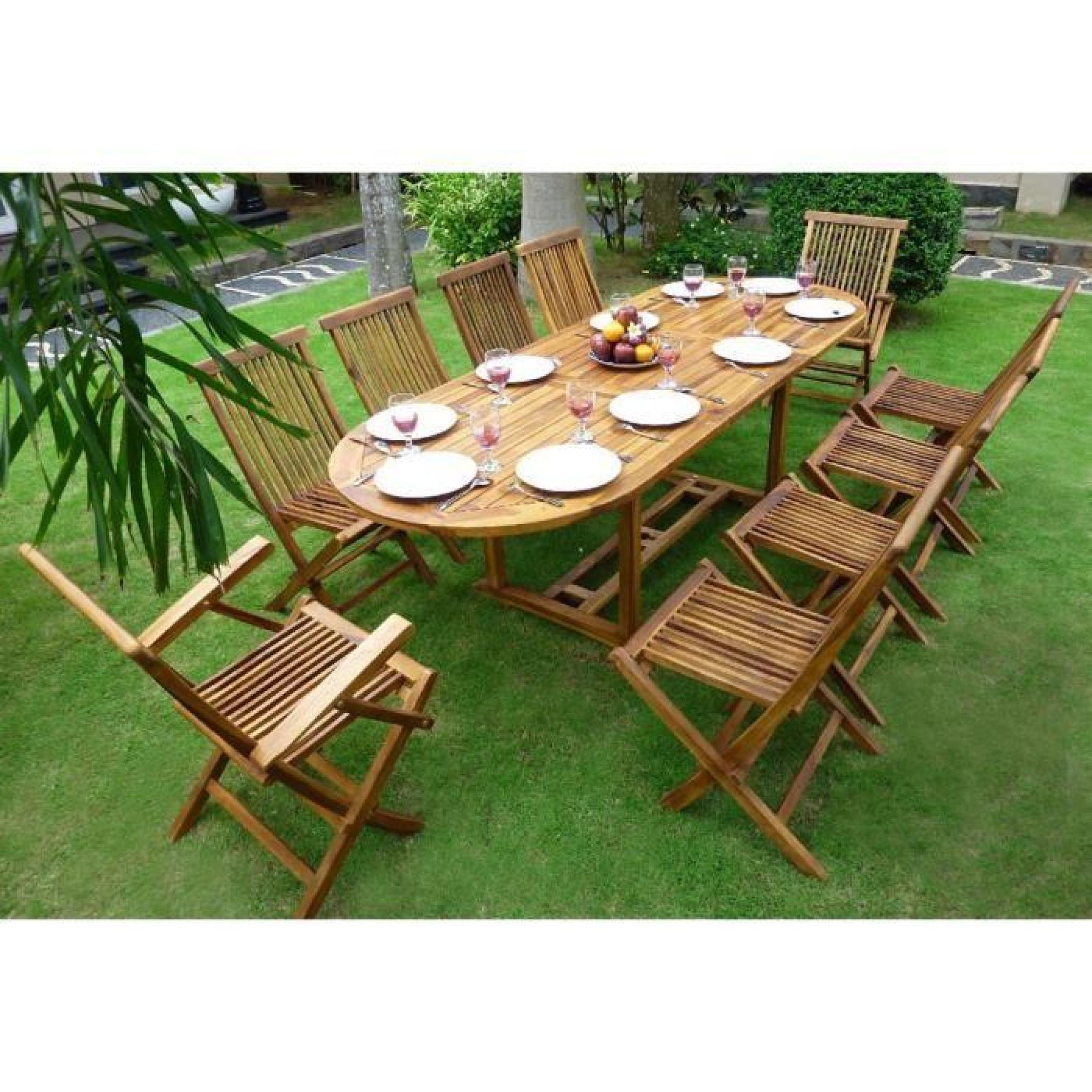 Salon De Jardin En Teck Huilé 10 Places - Table 180-240 Cm dedans Salon De Jardin 10 Personnes