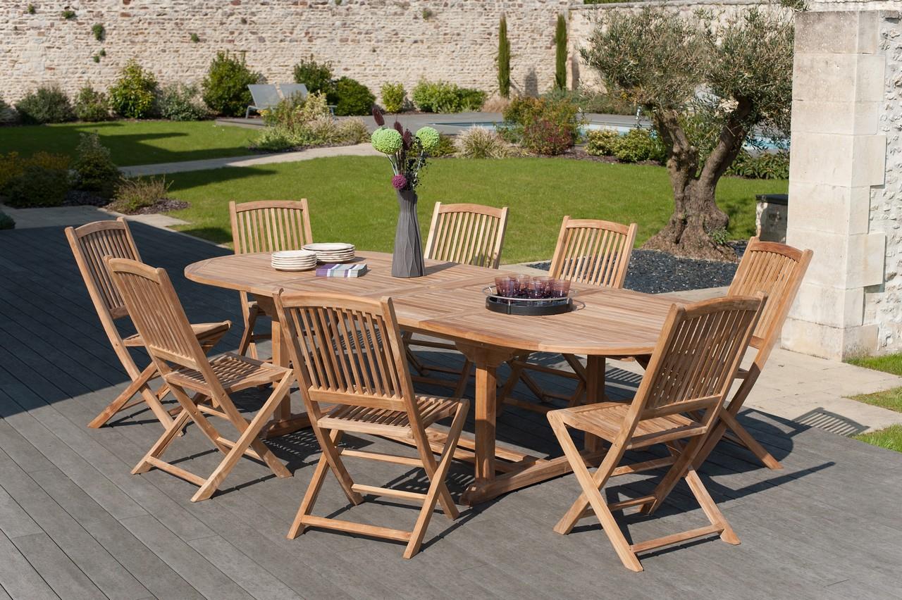 Salon De Jardin En Teck Table Ovale 200/300Cm 8 Chaises Summer tout Salon De Jardin Tek