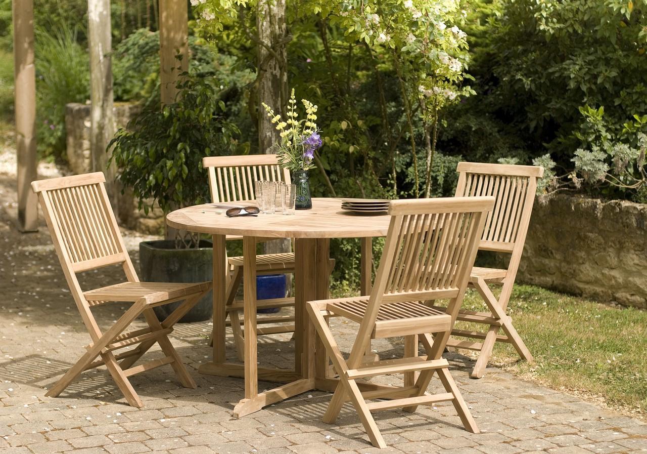 Salon De Jardin En Teck Table Ronde 120Cm 4 Chaises Summer tout Table Et Chaises De Jardin Leclerc
