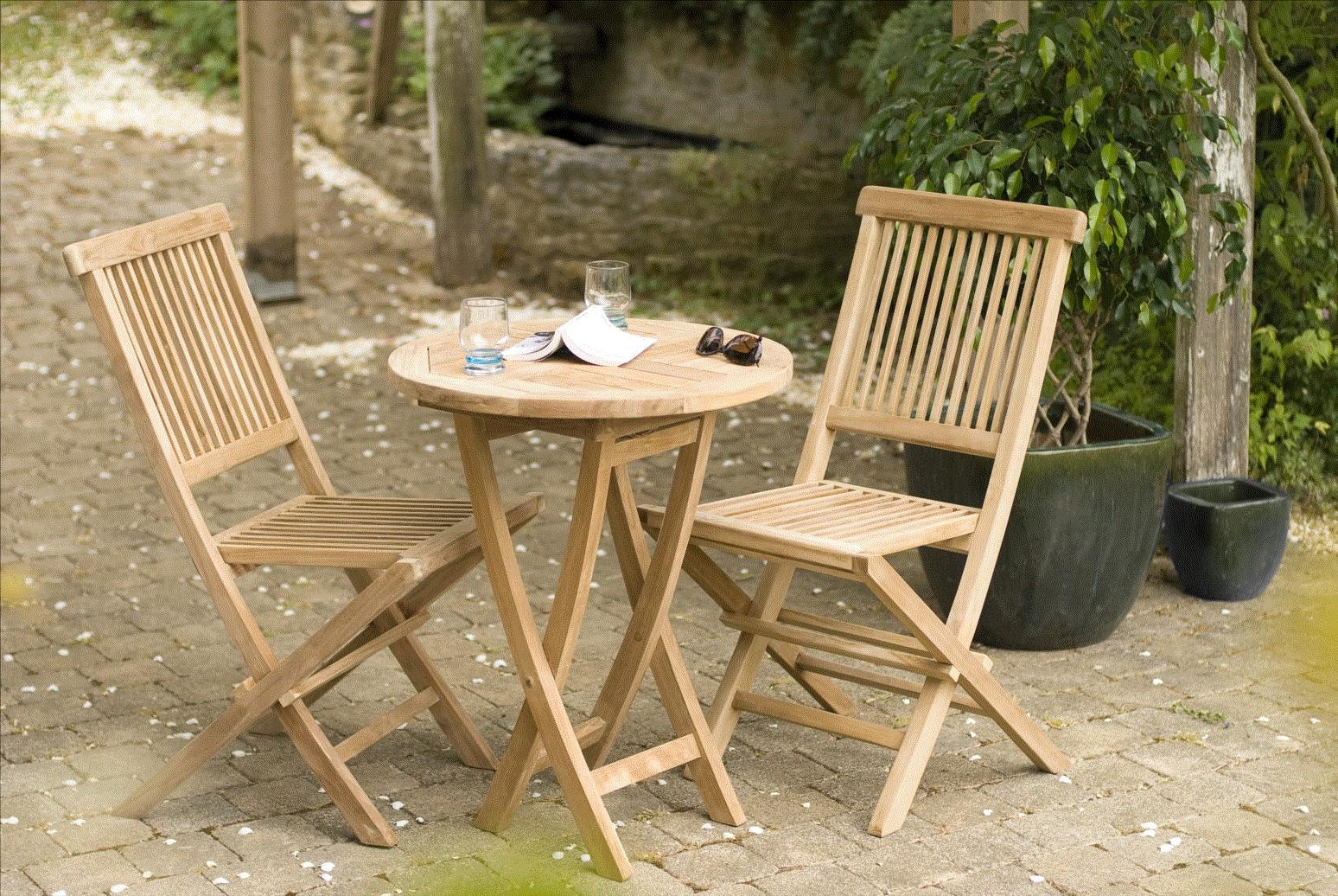 Salon De Jardin En Teck Table Ronde 2 Chaises 60Cm Summer tout Table De Jardin Ronde En Bois