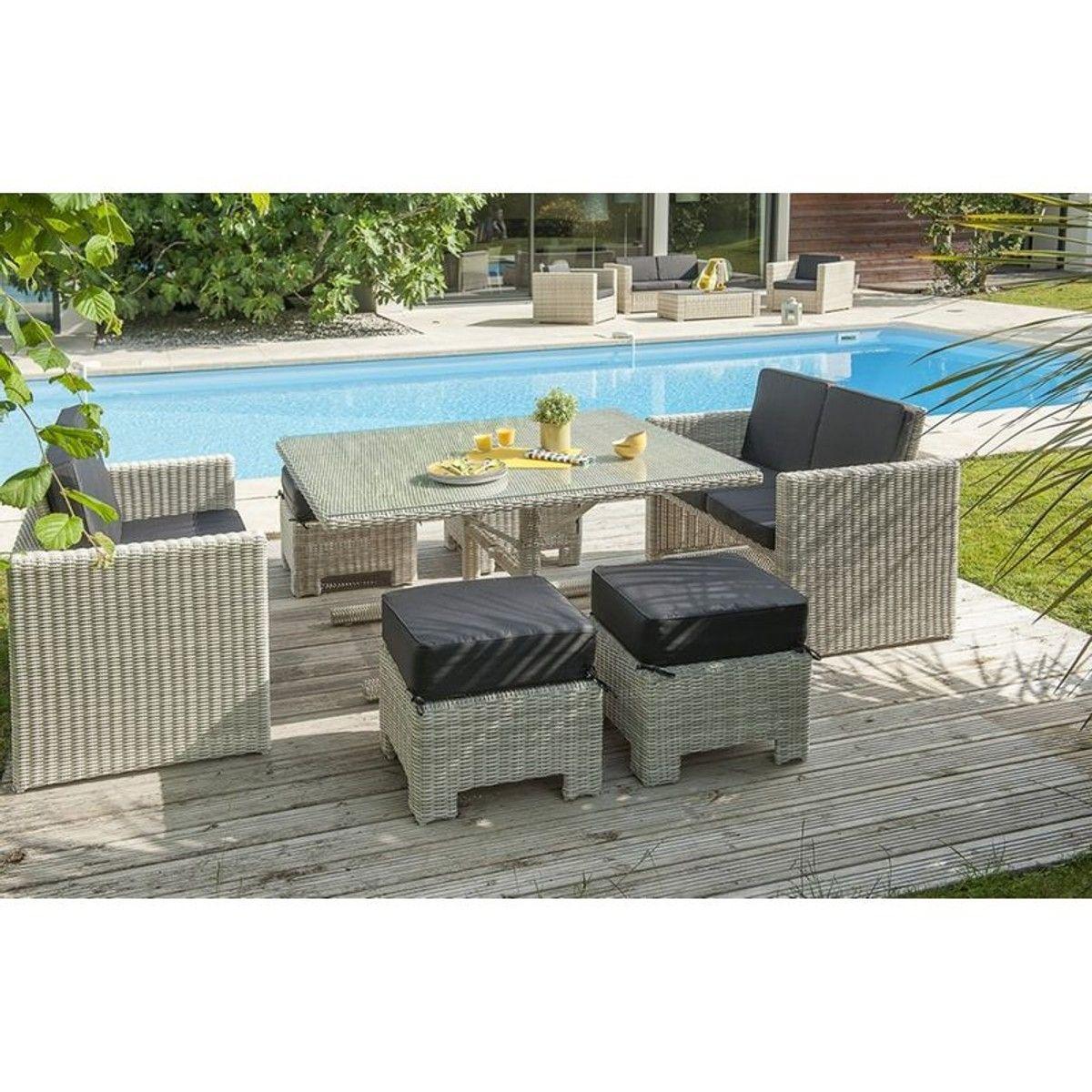 Salon De Jardin Encastrable 8 Places - Taille : 8 Pers En ... concernant Table De Jardin Encastrable