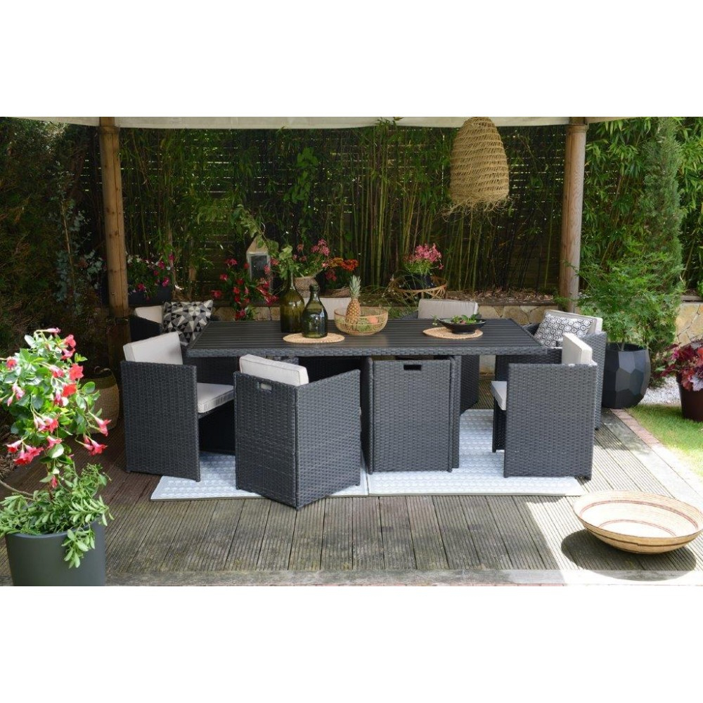 Salon De Jardin Encastrable Mode De Vie Michigan 9 Pièces concernant Table De Jardin Encastrable