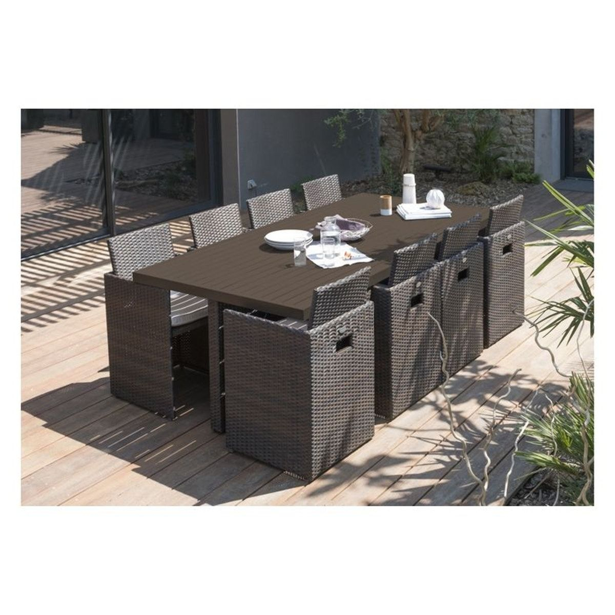 Salon De Jardin Encastrable Rio 8 Places - Taille : Taille ... intérieur Table De Jardin Encastrable