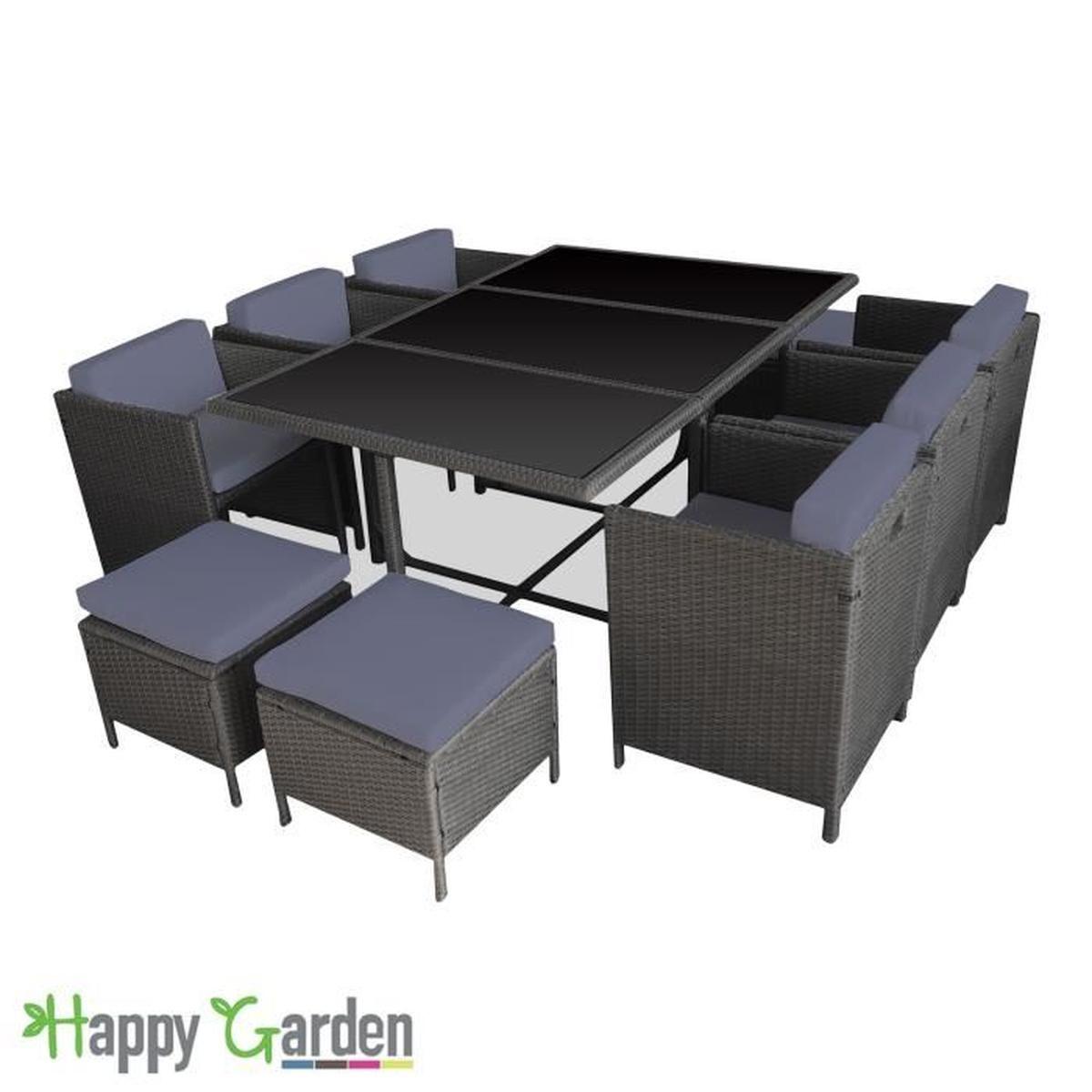 Salon De Jardin Encastrable Santorin En Résine Tressée Grise ... concernant Table Et Chaise De Jardin En Resine Tressee
