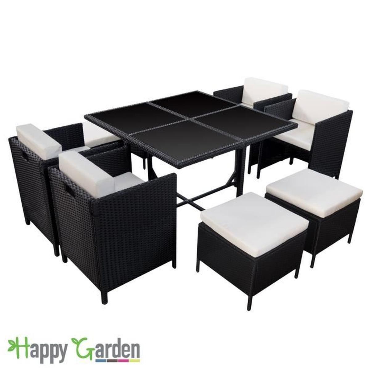 Salon De Jardin Encastrable Santorin En Résine Tressée Noire ... à Table De Jardin Chaise Encastrable