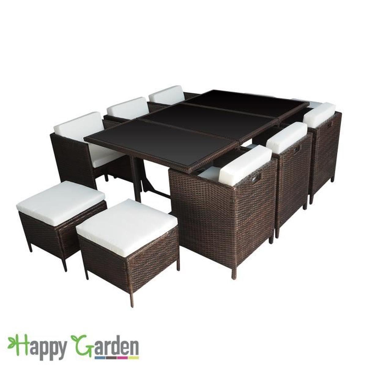 Salon De Jardin Encastrable Santorin En Résine Tressée ... tout Table De Jardin Chaise Encastrable
