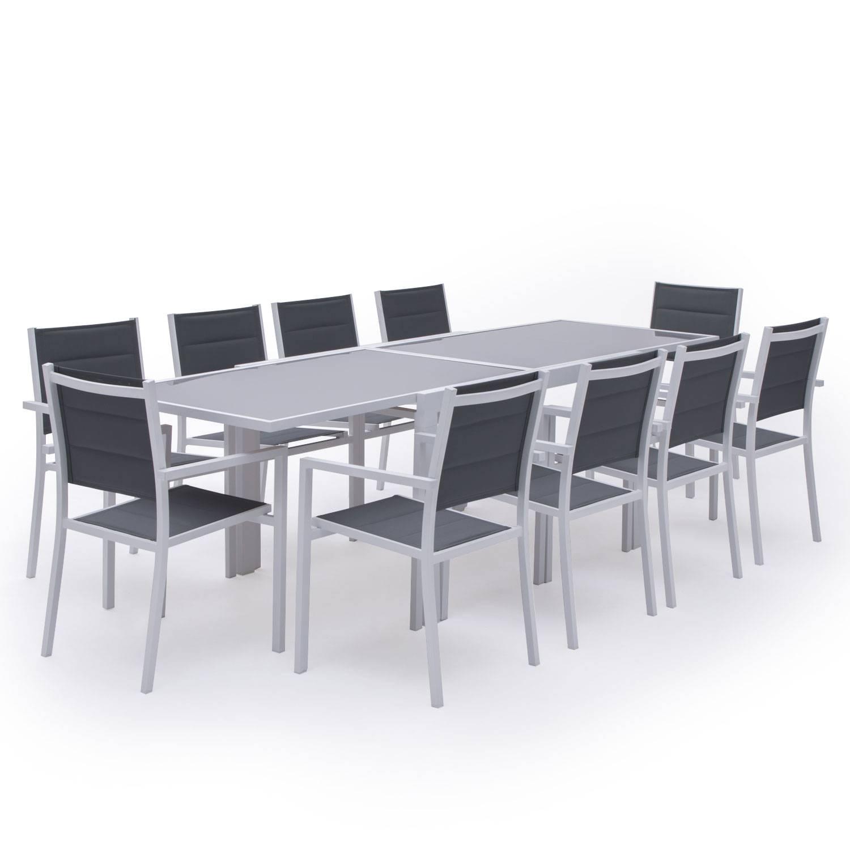 Salon De Jardin Extensible Aluminium Blanc, Textilène Gris ... avec Table De Jardin Dessus Verre
